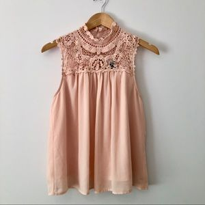 Forever 21 pink lace crotchet flowy blouse